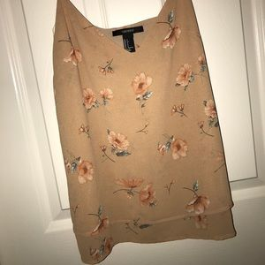 Forever 21 beige/blush floral tank. Size S